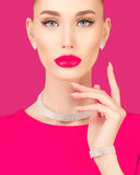 Portrait of an elegant young woman. On a pink background Royalty Free Stock Photo