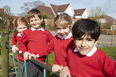 Portrait Of Elementary School Pupils On Climbing Equipment Royalty Free Stock Image