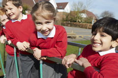 Portrait Of Elementary School Pupils On Climbing Equipment Stock Images