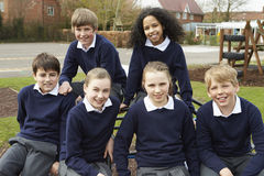 Portrait Of Elementary School Pupils In Playground Royalty Free Stock Images