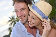 Portrait of embracing couple on holidays in tropics Stock Photography