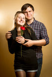 Portrait of embracing happy young couple Royalty Free Stock Images