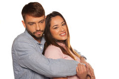 Portrait of an embracing romantic couple Royalty Free Stock Image