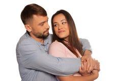 Portrait of an embracing romantic couple Stock Photos