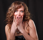 Portrait of emotion surprised  beautiful young womanl. Portrait of surprised  beautiful young woman Stock Images