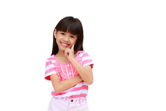 Portrait of a emotional beautiful little girl Royalty Free Stock Photos