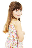Portrait of a emotional beautiful little girl. Isolated on white background stock photo