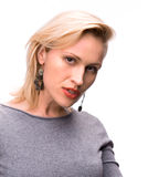 Portrait of emotional blond woman Stock Image