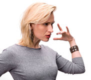 Portrait of emotional blond woman Stock Photography