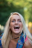 Portrait of emotional blondes Stock Images