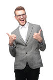 Portrait of emotional business man with thumbs up. Close up portrait of emotional happy business man with thumbs up stock photography