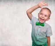 Pretty positive boy . Portrait of an emotional child. stock image