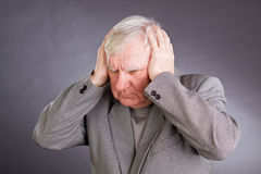 Portrait emotional elderly men royalty free stock images