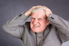 Portrait emotional elderly men Stock Photo