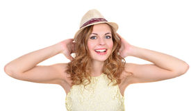 Portrait the emotional girl in a hat Royalty Free Stock Images