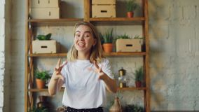 Portrait of emotional girl shouting and gesturing expressing negative emotions and looking at camera. Pretty blonde is stock footage