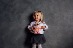 Portrait of emotional little girl royalty free stock photo