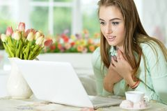 Young woman looking at laptop Royalty Free Stock Photos