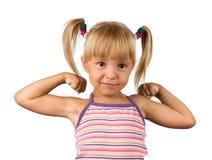 Portrait of emotionally kid. Funny little girl isolated on white background. Beautiful caucasian model Royalty Free Stock Image