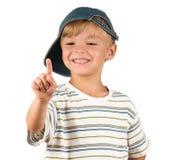 Portrait of emotionally kid. Funny little boy isolated on white background. Beautiful caucasian model Stock Photos