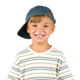 Portrait of emotionally kid. Funny little boy isolated on white background. Beautiful caucasian model Royalty Free Stock Photography