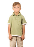 Portrait of emotionally kid. Funny little boy isolated on white background. Beautiful caucasian model Stock Photography