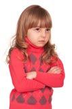 Portrait of emotionally kid. Funny little girl isolated on white background. Beautiful caucasian model Stock Photo