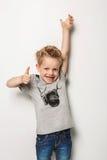 Portrait of emotionally kid. Studio portrait over white background Royalty Free Stock Image