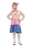 Portrait of emotionally little girl. On white background Stock Photography