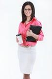 Portrait en buste de dame d'affaires avec le noir de port de dossier Photographie stock