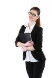 Portrait en buste de dame d'affaires avec le noir de port de dossier Photos stock