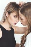 Portrait en gros plan de beaux jeunes couples lesbiens posant ensemble Image stock