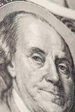 Portrait en gros plan de Benjamin Franklin Photographie stock libre de droits