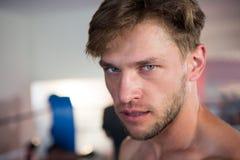 Portrait en gros plan de jeune boxeur masculin sûr photos libres de droits