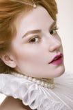 Portrait en gros plan de studio de beau de la fille de gingembre Photographie stock