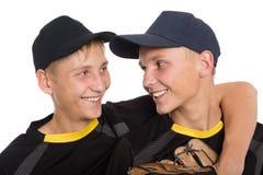 Portrait en gros plan des joueurs de baseball de frères Photographie stock