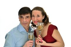 Portrait enamored man and woman Stock Photos