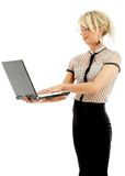 Portrait or energetic businesswoman with laptop Royalty Free Stock Photography