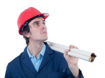 Portrait of engineer holding blueprints Royalty Free Stock Images