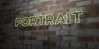 PORTRAIT - Enseigne au néon rougeoyant sur le mur de maçonnerie - 3D a rendu l'illustration courante gratuite de redevance Photos stock