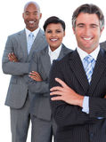 Portrait of enthusiastic business team royalty free stock photography