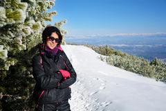 Portrait of  Equipped tourists woman  on a ski slope in Bulgaria,Borovets Stock Photo