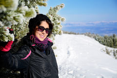Portrait of  Equipped tourists woman  on a ski slope in Bulgaria,Borovets Royalty Free Stock Images