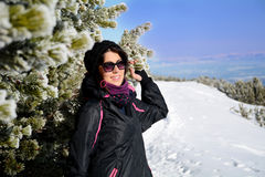 Portrait of  Equipped tourists woman  on a ski slope in Bulgaria,Borovets Royalty Free Stock Photo