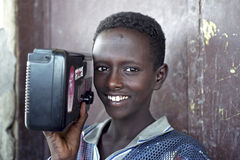 Portrait of Ethiopian boy with radio, Ethiopia Royalty Free Stock Image