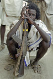 Portrait of Ethiopian Afar man with Kalashnikov. Ethiopia: closeup of an Afar man (ethnic population , semi nomads, livestock pastoralists  from eastern Stock Images