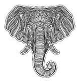 Portrait ethnique stylisé d'éléphant de boho d'isolement sur le fond blanc Illustration tirée par la main décorative de vecteur d illustration stock