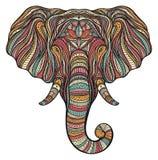 Portrait ethnique stylisé d'éléphant de boho d'isolement sur le fond blanc Illustration tirée par la main décorative de vecteur d illustration de vecteur