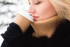 Portrait of european style fashionable woman drinking coffee in winter park stock image