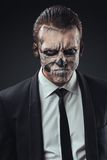Portrait evil  businessman makeup skeleton Royalty Free Stock Photo